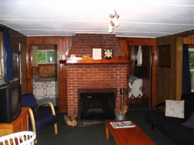 The fireplace in the Lodge